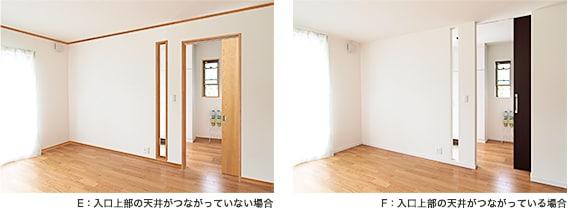 E:入口上部の天井がつながっていない場合  F:入口上部の天井がつながっている場合